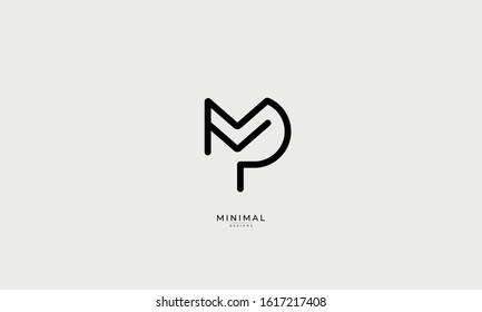 Alphabet letter monogram icon logo MP