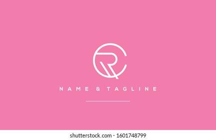 Alphabet letter monogram icon RC or CR