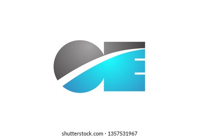alphabet letter oe o e logo combination in blue and grey colors suitable for business and corporate identity