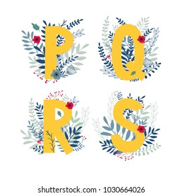Alphabet,  letter  p, q, r, s set  in floral design with flowers and plants. Vector colorful ABC element.