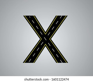 Alphabet letter road with white and yellow line markings highway letters and numbers a to z and 1 to 0 LETTER X