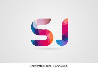 alphabet letter sj s j logo combination design with rainbow colors suitable for a company or business