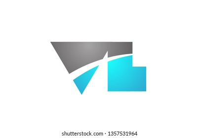 alphabet letter vl v l logo combination in blue and grey colors suitable for business and corporate identity