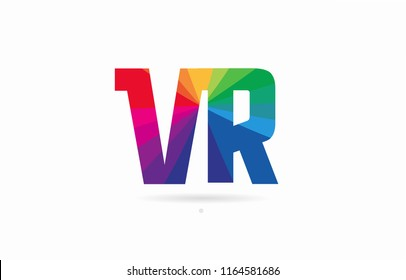 alphabet letter vr v r logo combination design with rainbow colors suitable for a company or business