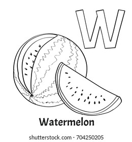 Alphabet Letter W Coloring Page Watermelon