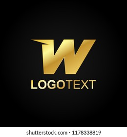 Alphabet Letter W Shape Gold Luxury Premium Abstract Logo Vector