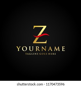 Alphabet Letter Z Gold Red Luxury Premium Abstract Logo Vector