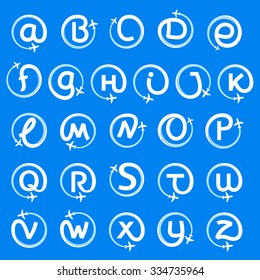 Alphabet letters with airline and plane. Vector design template elements for your application or corporate identity.
