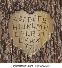 Alphabet letters carved into a tree with heart shape cut out.  Easy to edit font for your design. Vector illustration for Valentine's Day.
