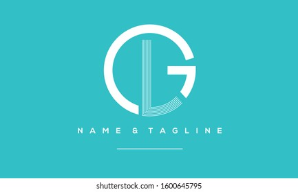 Alphabet letters Circle monogram icon logo GL,LG,L and G
