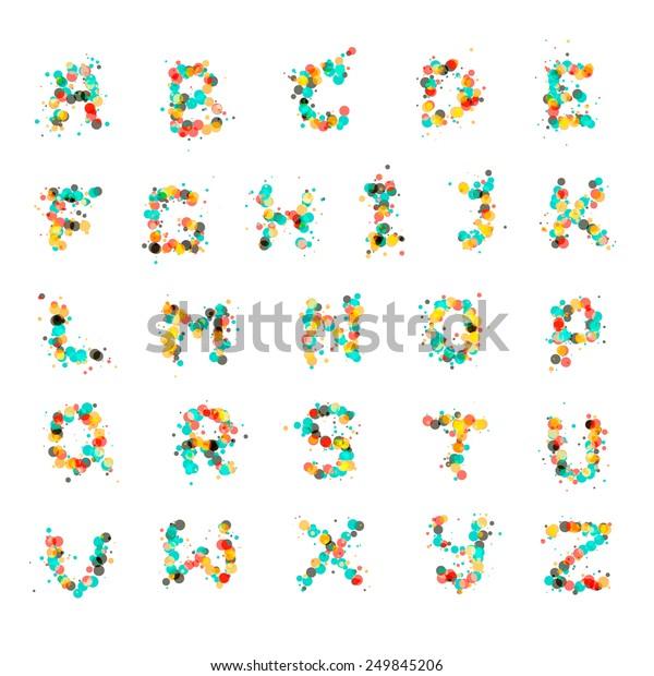 Alphabet Letters Consist Many Color Bubbles Stock Vector