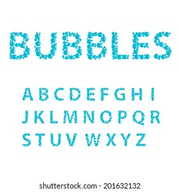 Alphabet letters consisting of blue bubbles, vector illustration