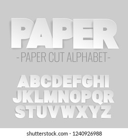 alphabet letters cut out of paper. Paper art style. Vector illustration.