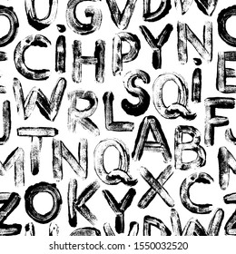 Alphabet letters in graffiti style seamless pattern. Vector hand drawn grunge background. Hand drawn typography ink elements. Black and white paint smears alphabet ornament.