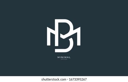 alphabet letters icon logo BM or MB