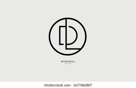 alphabet letters icon logo  DL or LD