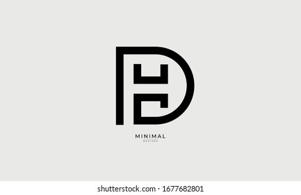 alphabet letters icon logo HD or DH