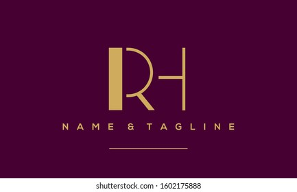 Alphabet letters icon logo RH or HR