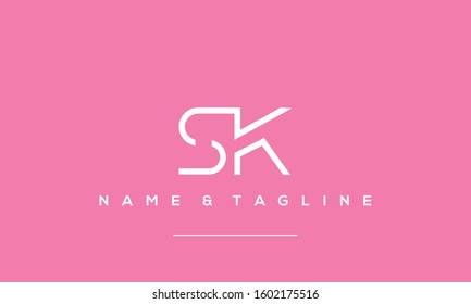 Alphabet letters icon logo SK or KS