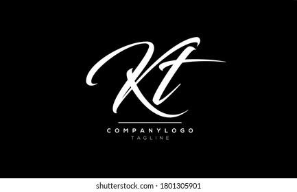 Alphabet letters Initials Monogram KT,TK,K and T