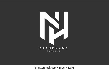 Alphabet letters Initials Monogram logo NH, HN, N and H