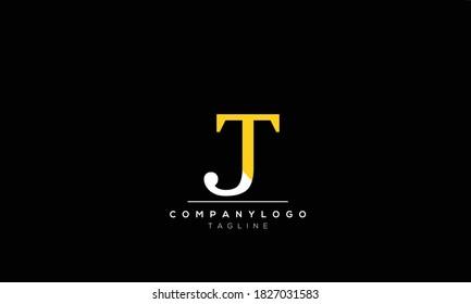Alphabet letters Initials Monogram logo  TJ.