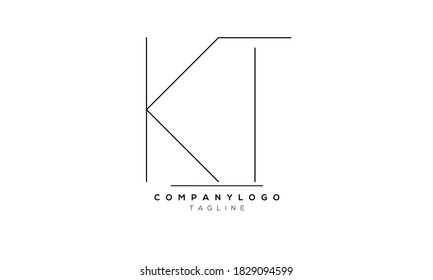 Alphabet letters Initials Monogram logo KT,TK,K and T