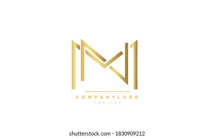 Alphabet letters Initials Monogram logo MN or NM or M