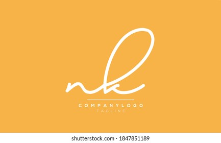 Alphabet letters Initials Monogram logo NK or KN or N and K