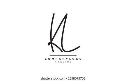 Alphabet letters Initials Monogram logo KL or LK,K and L