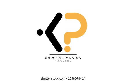 Alphabet letters Initials Monogram logo KP or PK,K and P