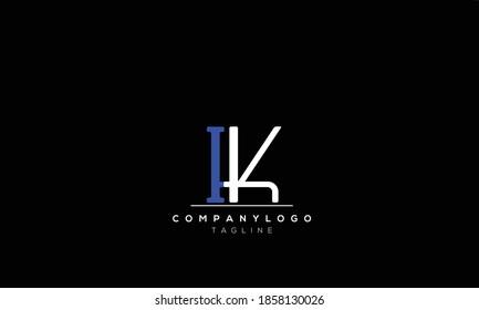 Alphabet letters Initials Monogram logo  IK, KI,I AND K