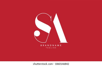 Alphabet letters Initials Monogram logo SA, AS, S and A