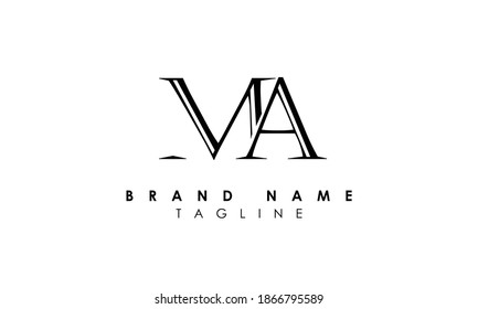 Alphabet letters Initials Monogram logo ma minimalist and creative ma logo