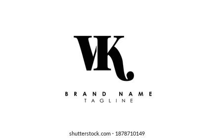 Alphabet letters Initials Monogram logo vk, kv, v and k