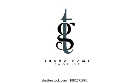 Alphabet letters Initials Monogram logo TG, GT, T and G