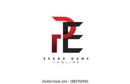 Alphabet letters Initials Monogram logo PE, EP, P and E