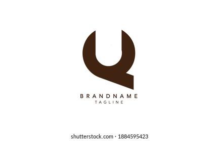 Alphabet letters Initials Monogram logo QU,QU INITIAL, QU letter , Q and U