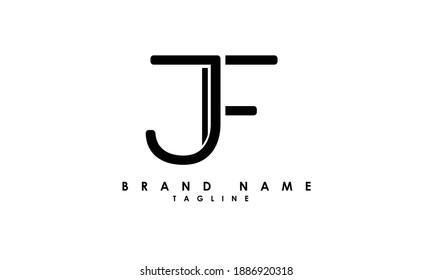 Alphabet letters Initials Monogram logo JF, FJ, J and F