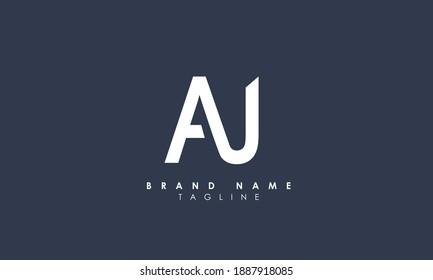 Alphabet letters Initials Monogram logo AU, UA, A and U
