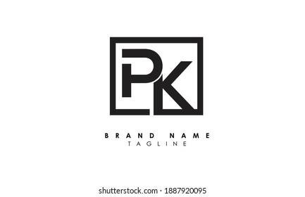 Alphabet letters Initials Monogram logo PK, KP, P and K