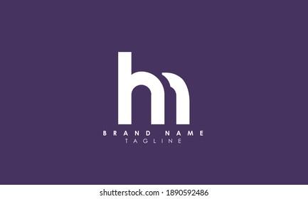 Alphabet letters Initials Monogram logo HM, MH, H and M, Alphabet Letters HM minimalist logo design in a simple yet elegant font, Unique modern creative minimal circular shaped fashion brands