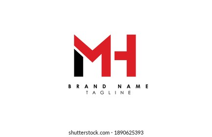 Alphabet letters Initials Monogram logo HM, M and H, Alphabet Letters MH minimalist logo design in a simple yet elegant font, Unique modern creative minimal circular shaped fashion brands