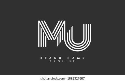 Alphabet letters Initials Monogram logo MU, UM, M and U, Alphabet Letters MU minimalist logo design in a simple yet elegant font, Unique modern creative minimal circular shaped fashion brands