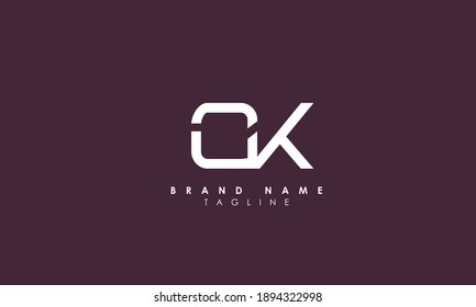 Alphabet letters Initials Monogram logo OK, KO, O and K, Alphabet Letters OK minimalist logo design in a simple yet elegant font, Unique modern creative minimal circular shaped fashion brands