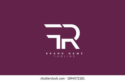 Alphabet letters Initials Monogram logo FR, RF, F and R, Alphabet Letters FR minimalist logo design in a simple yet elegant font, Unique modern creative minimal circular shaped fashion brands