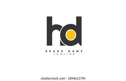 Alphabet letters Initials Monogram logo HD, DH, H and D, Alphabet Letters HD minimalist logo design in a simple yet elegant font, Unique modern creative minimal circular shaped fashion brands