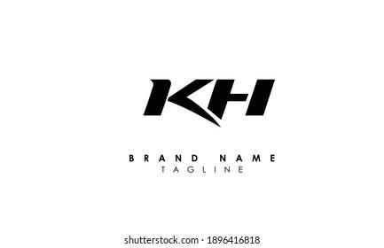Alphabet letters Initials Monogram logo KH, HK, K and H