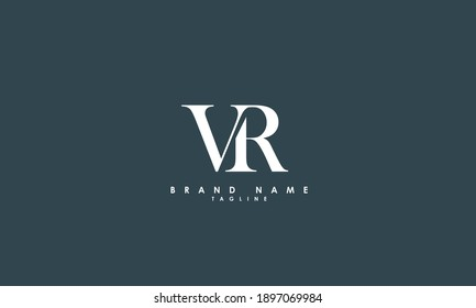 Alphabet letters Initials Monogram logo VR, RV, V and R