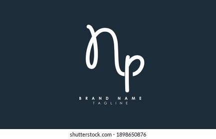 Alphabet letters Initials Monogram logo NP, PN, N and P